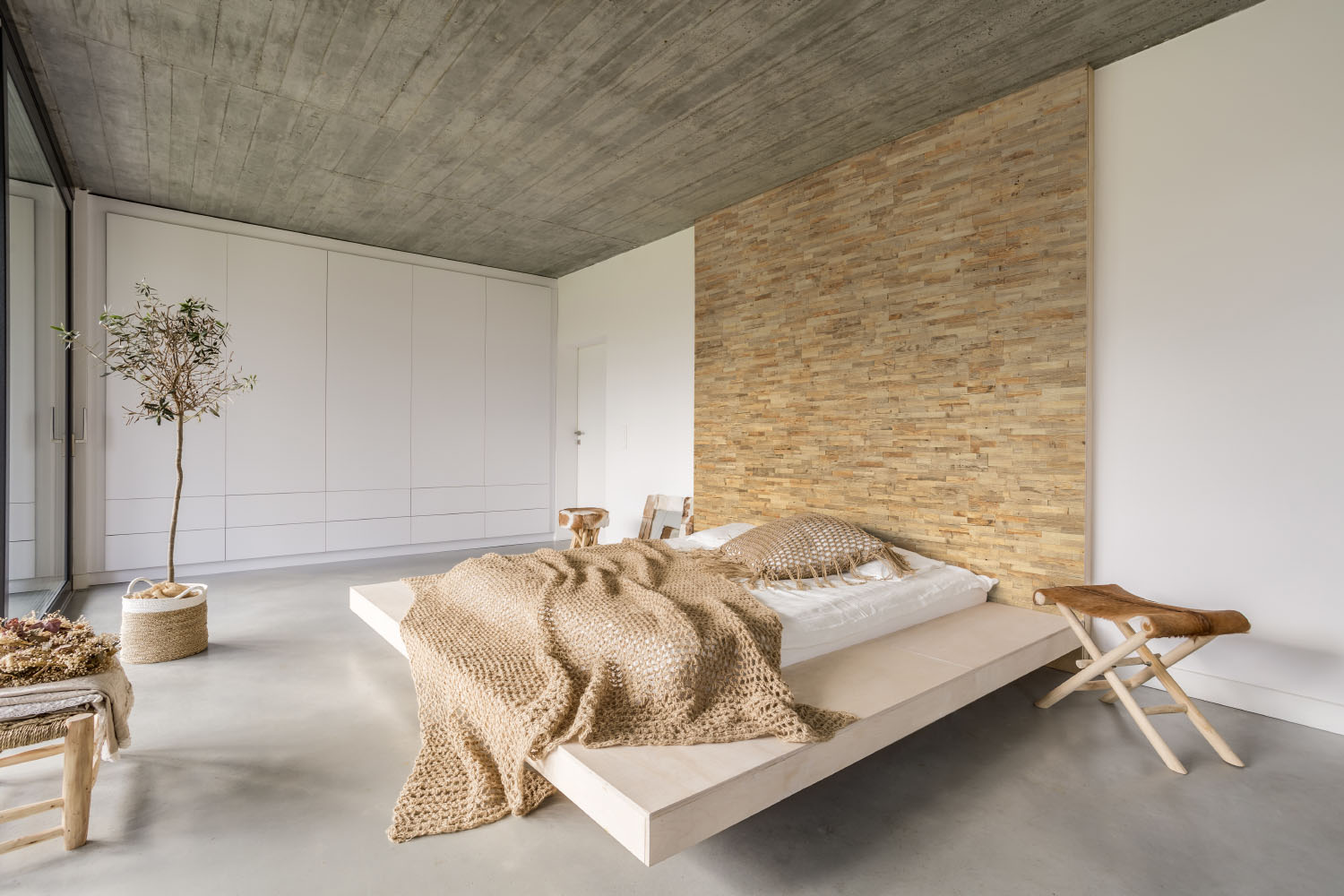 Wall panels in bedroom interior
