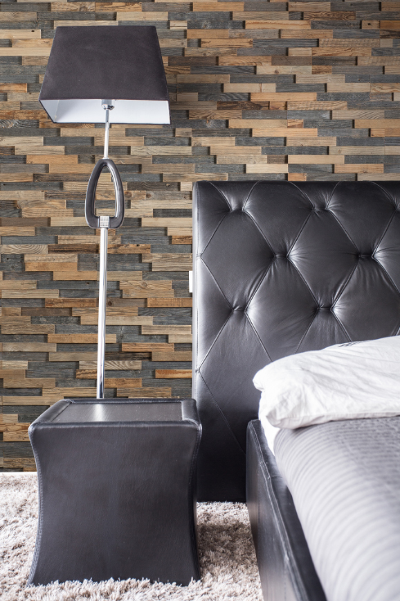 Interior design with reclaimed wood in bedroom
