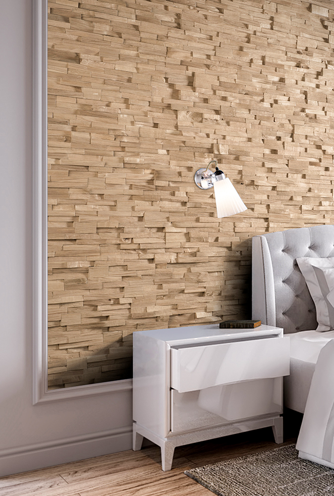 Splitted oak wall panel
