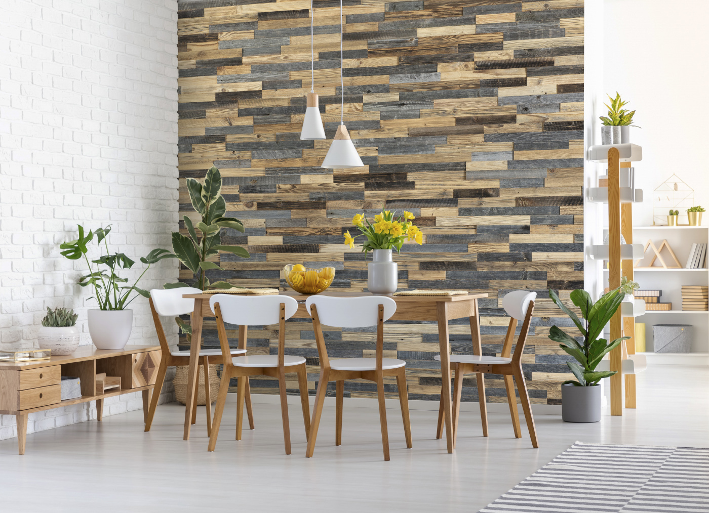 Bright interior with wood panels brick wall