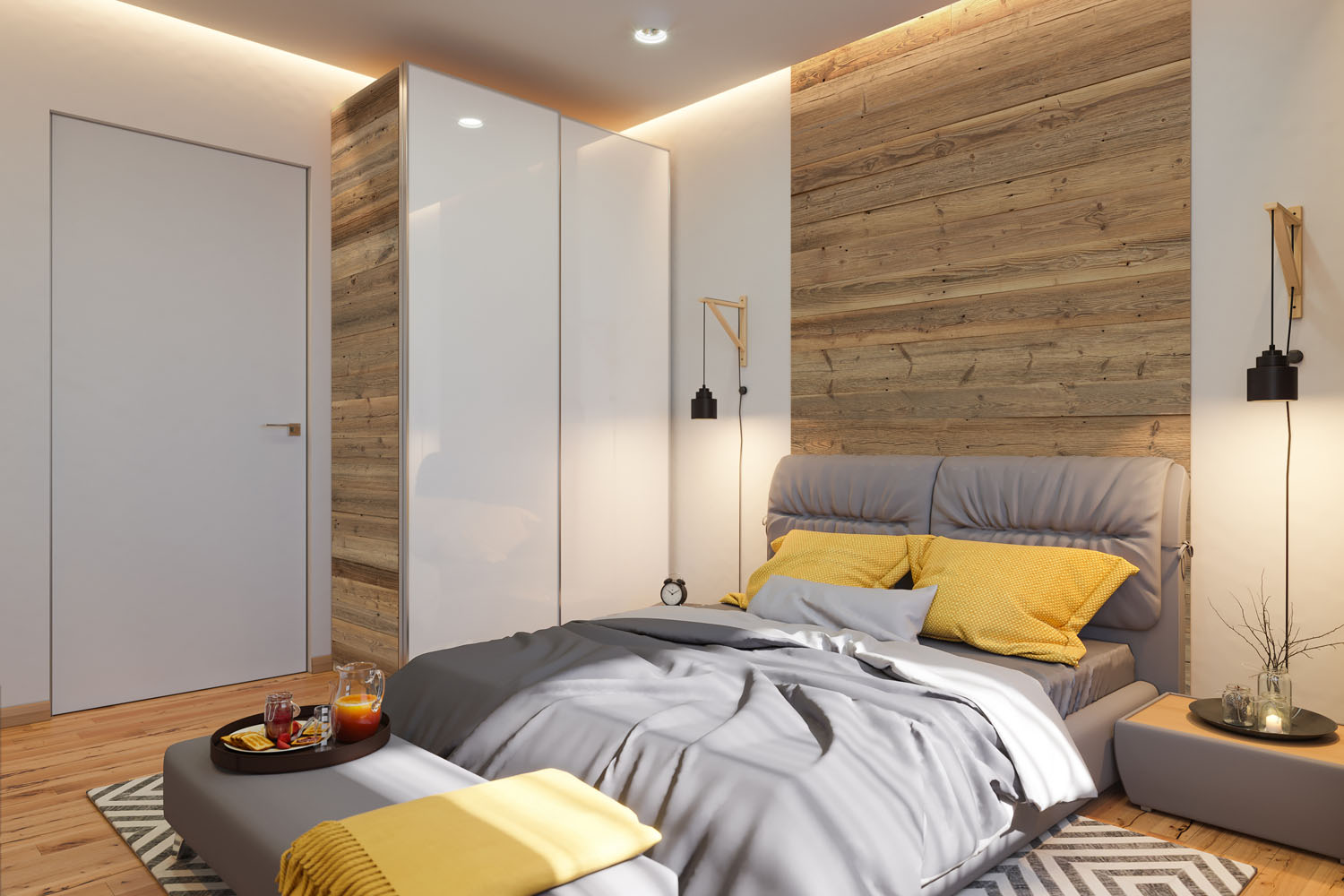 Brushed boards in bedroom interior with yellow pillows