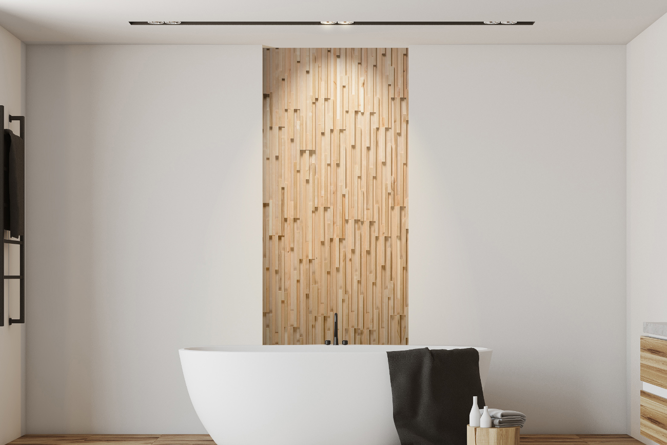 Decorative wall panels in bathroom interior