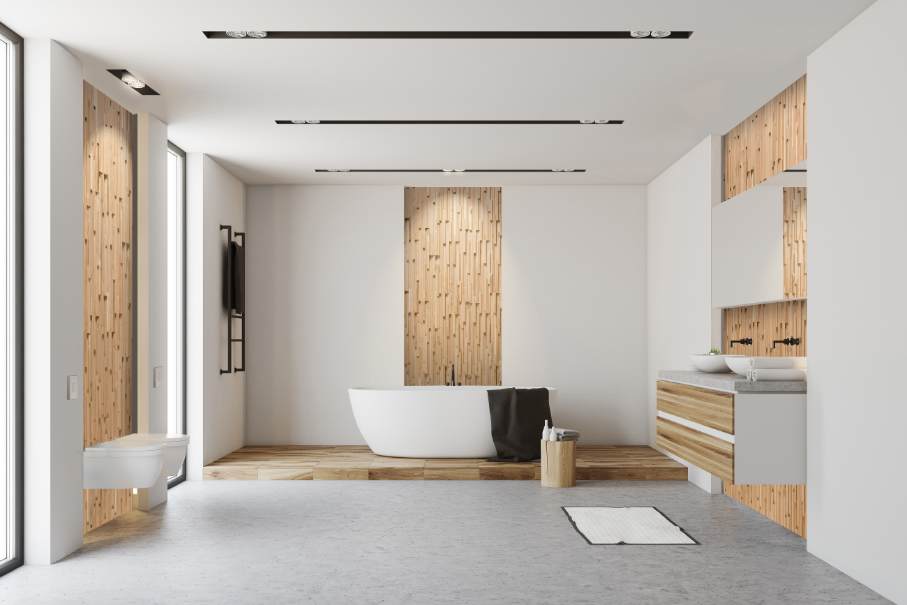 Wooden wall panels in bathroom design