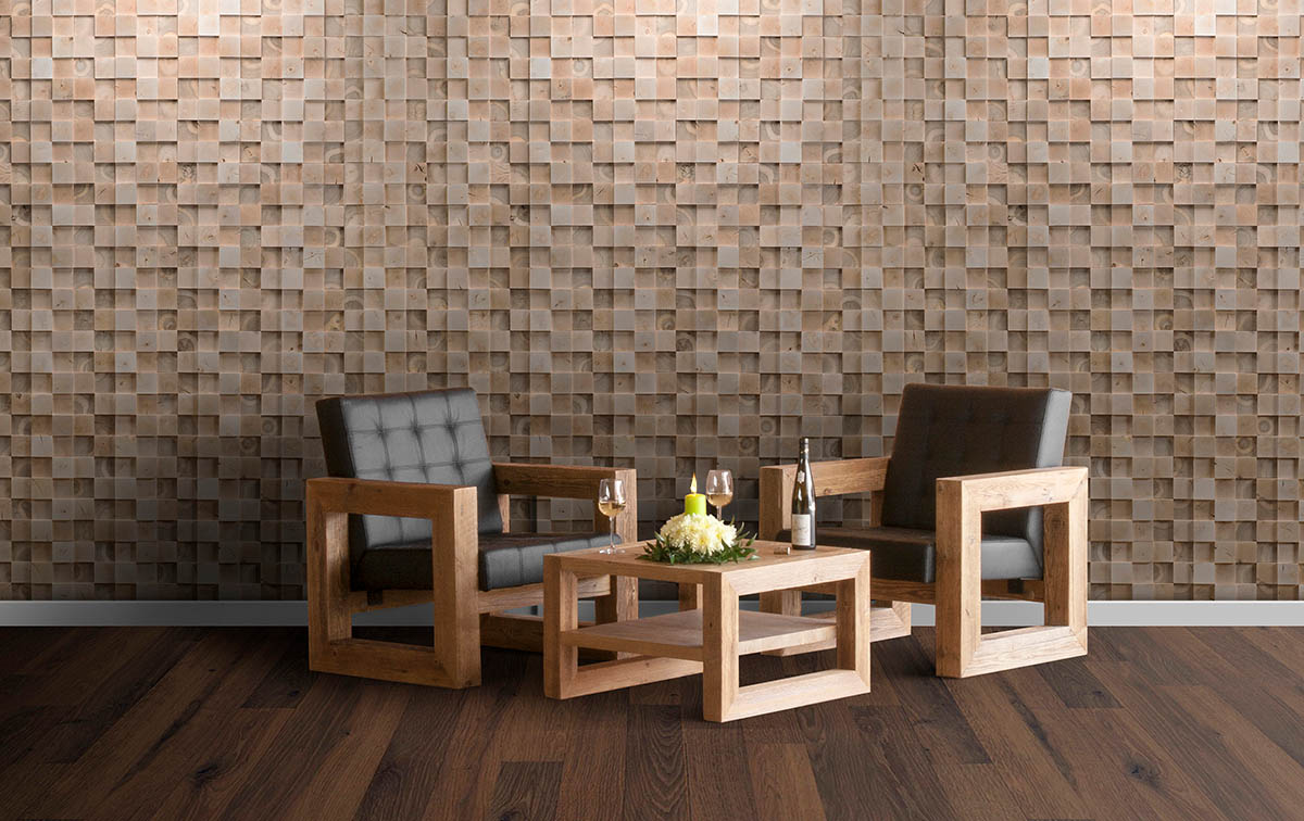 3D square natural wood panel for walls