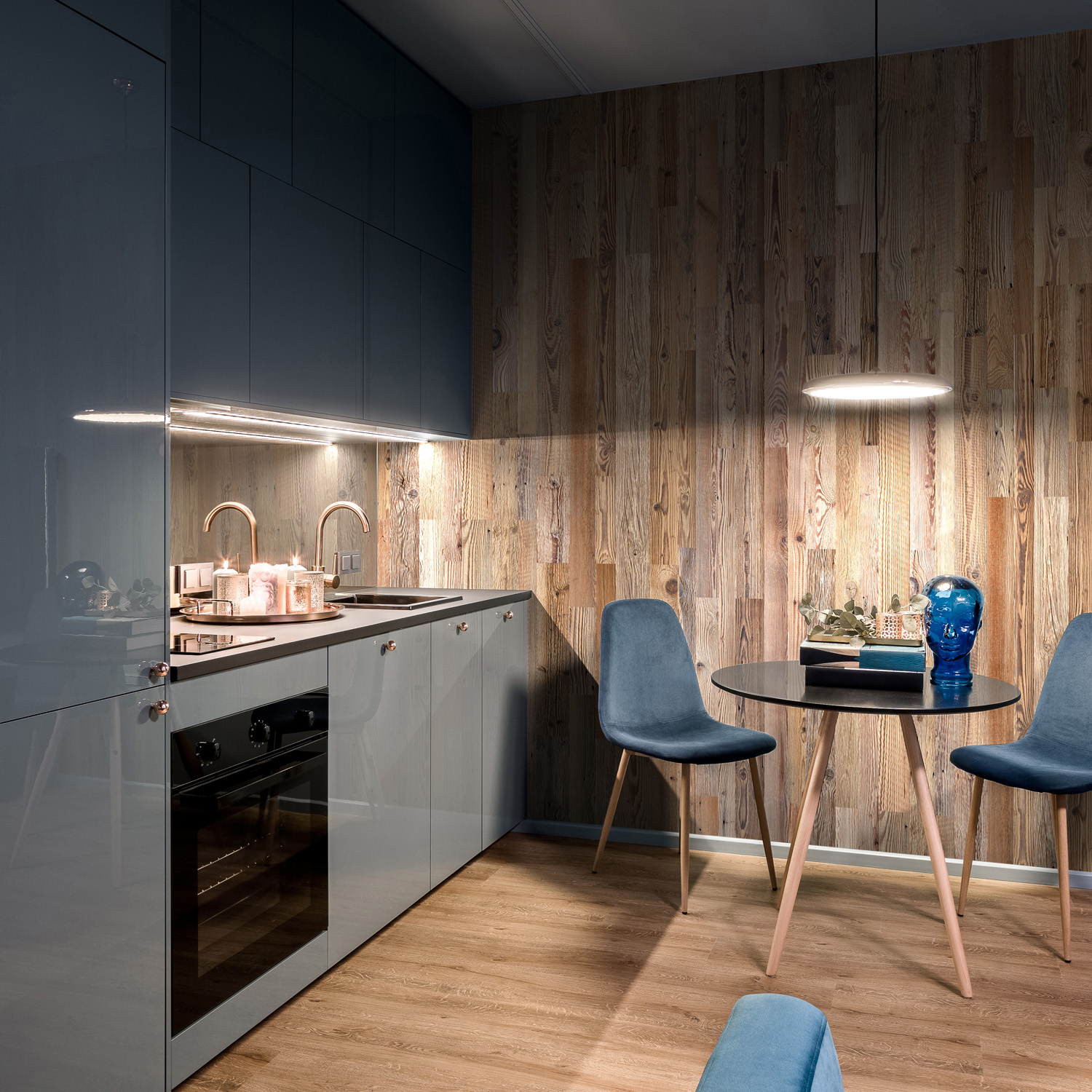 Kitchen interior with reclaimed wood boards 2021