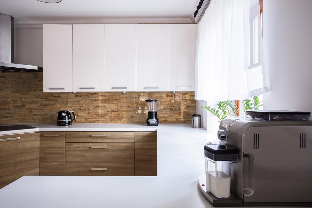 Wall cladding in kitchen interior