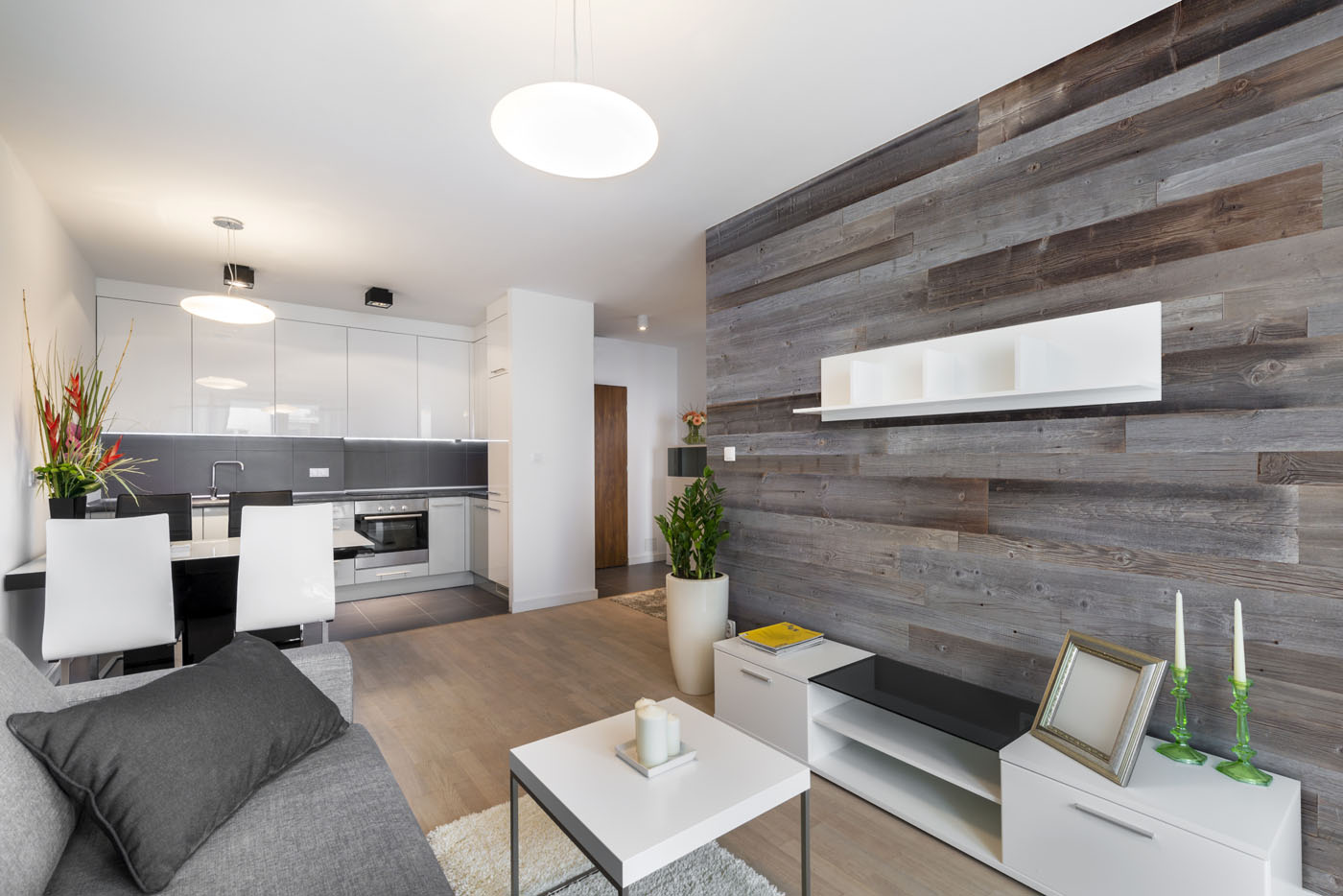 Natural grey boards in apartment interior