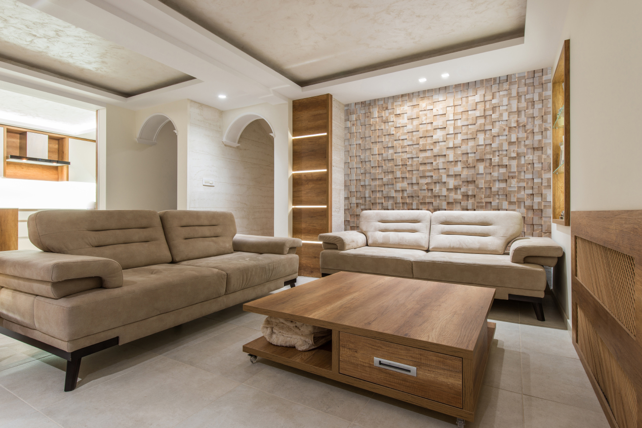 Decorative wall panels in living room interior