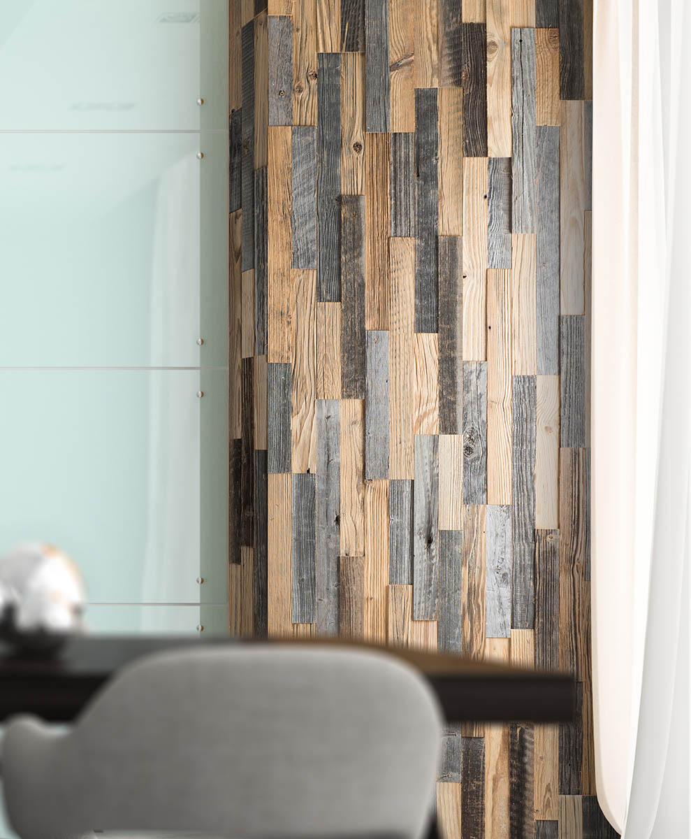 Reclaimed wood wall panel