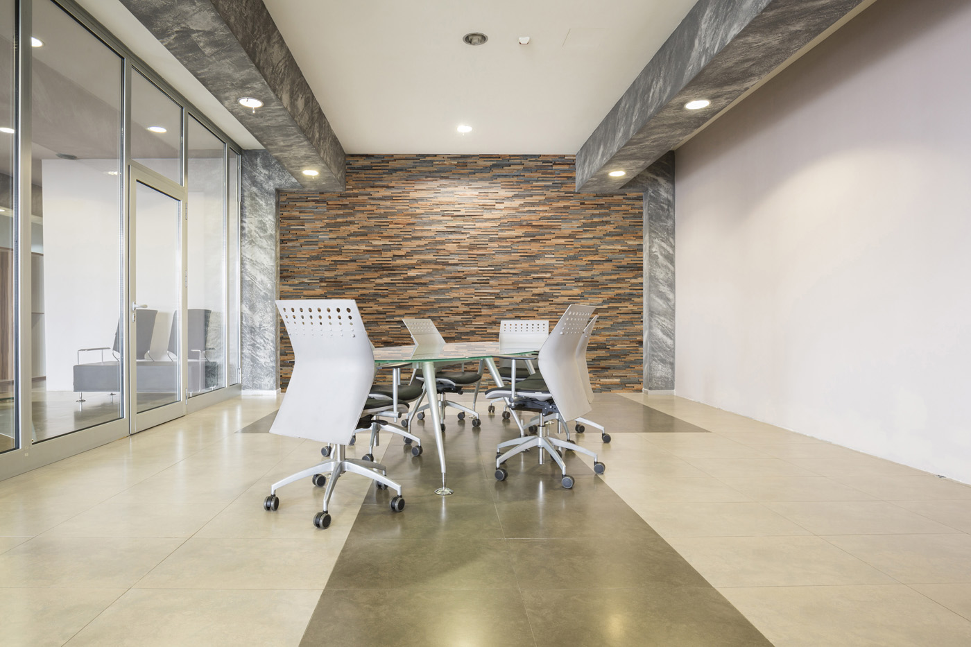 Reclaimed wood panels office interior
