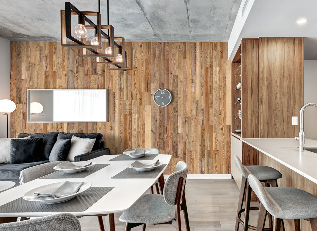 Reclaimed wood planks in apartment interior