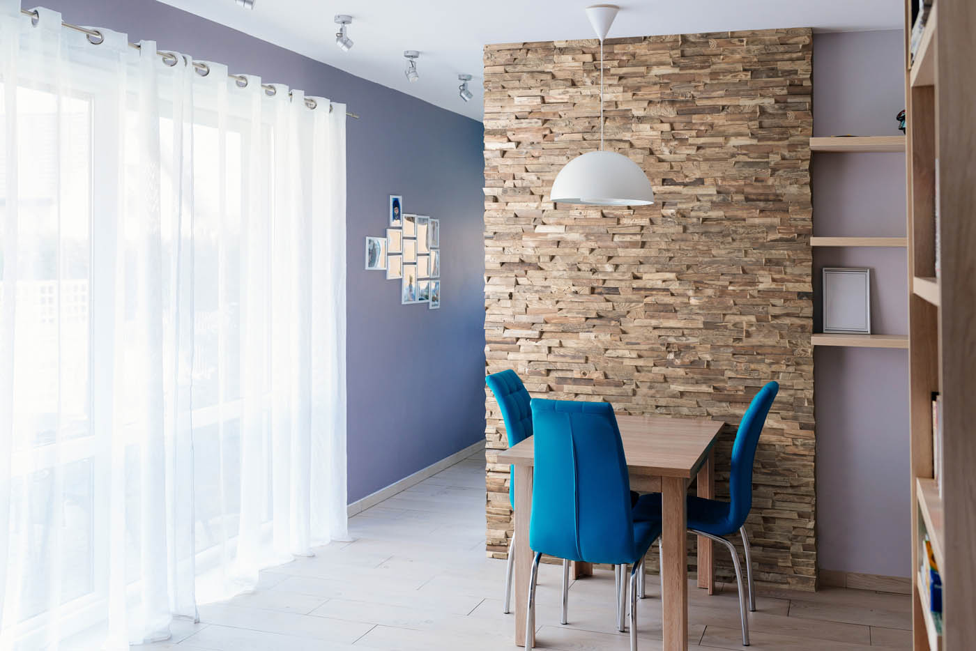 Reclaimed wood wall in dining room