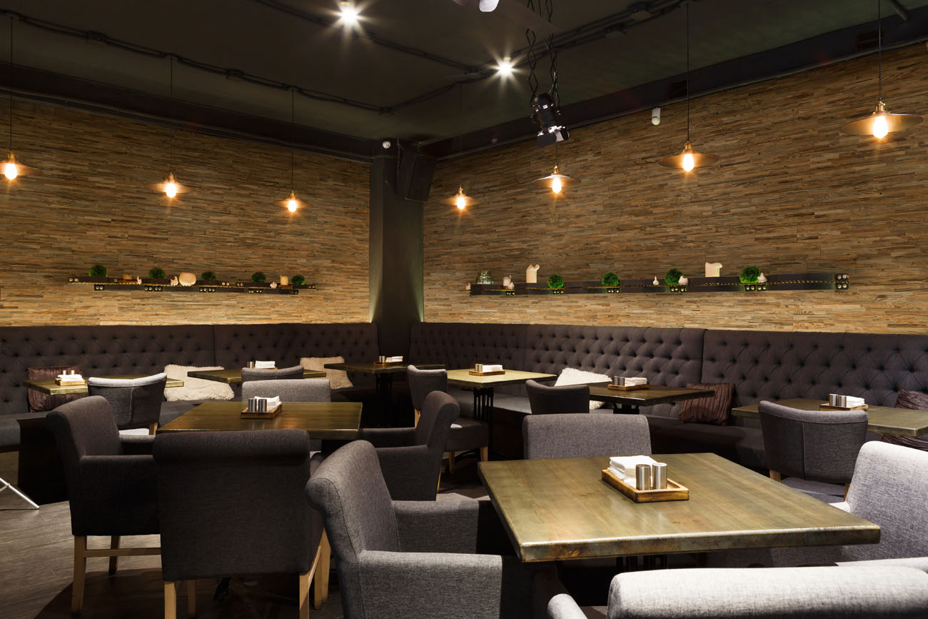 Restaurant interior with wall panels