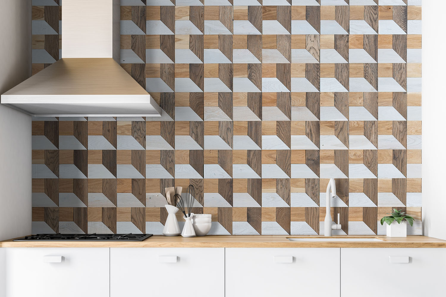 Retro wall panel in kitchen interior