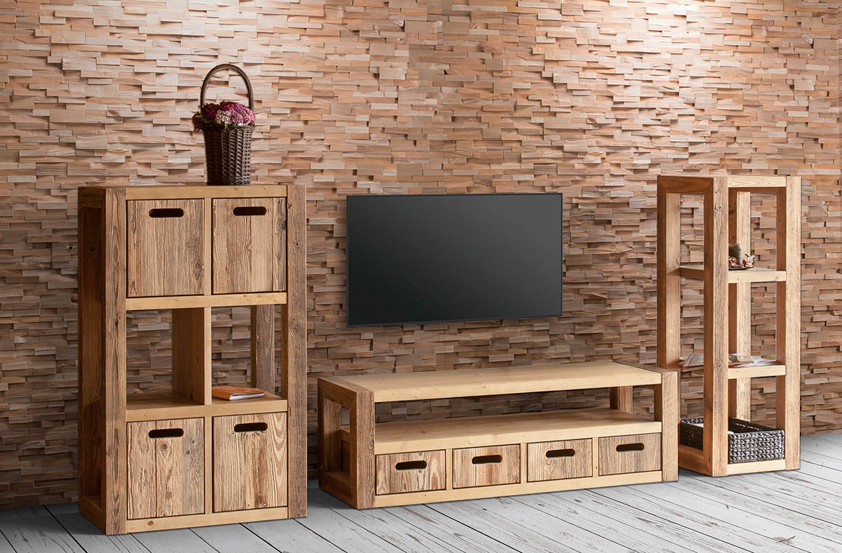 3D splitted wood wall panel