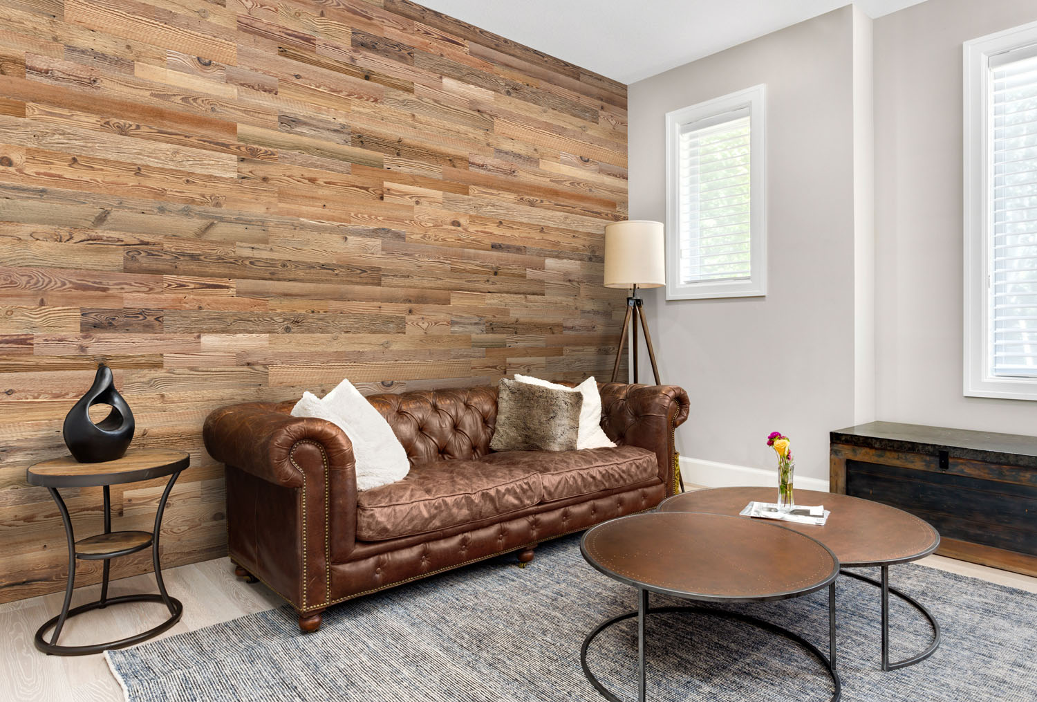 Wall panels behind vintage couch