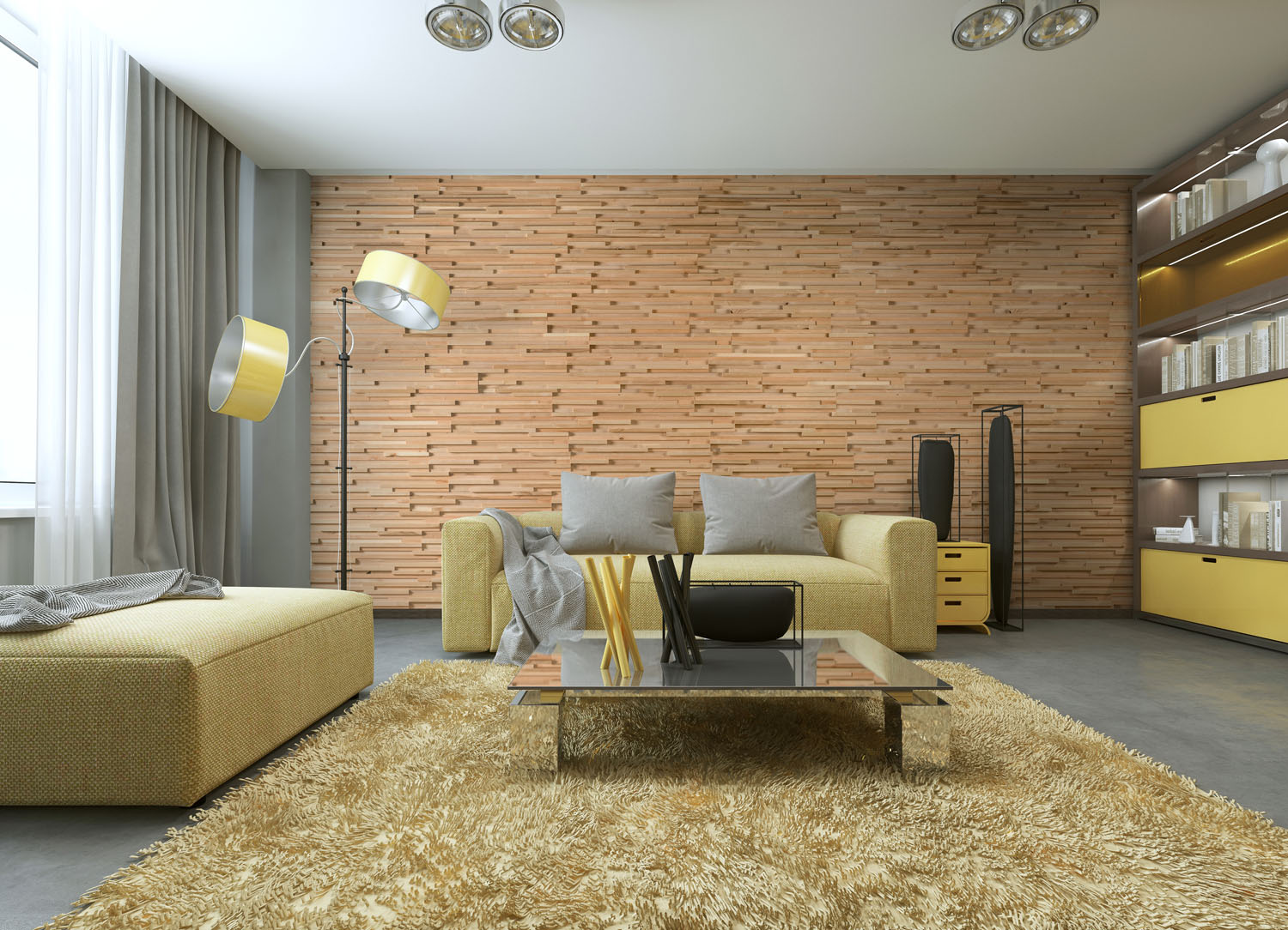 Solid wood panels in interior design