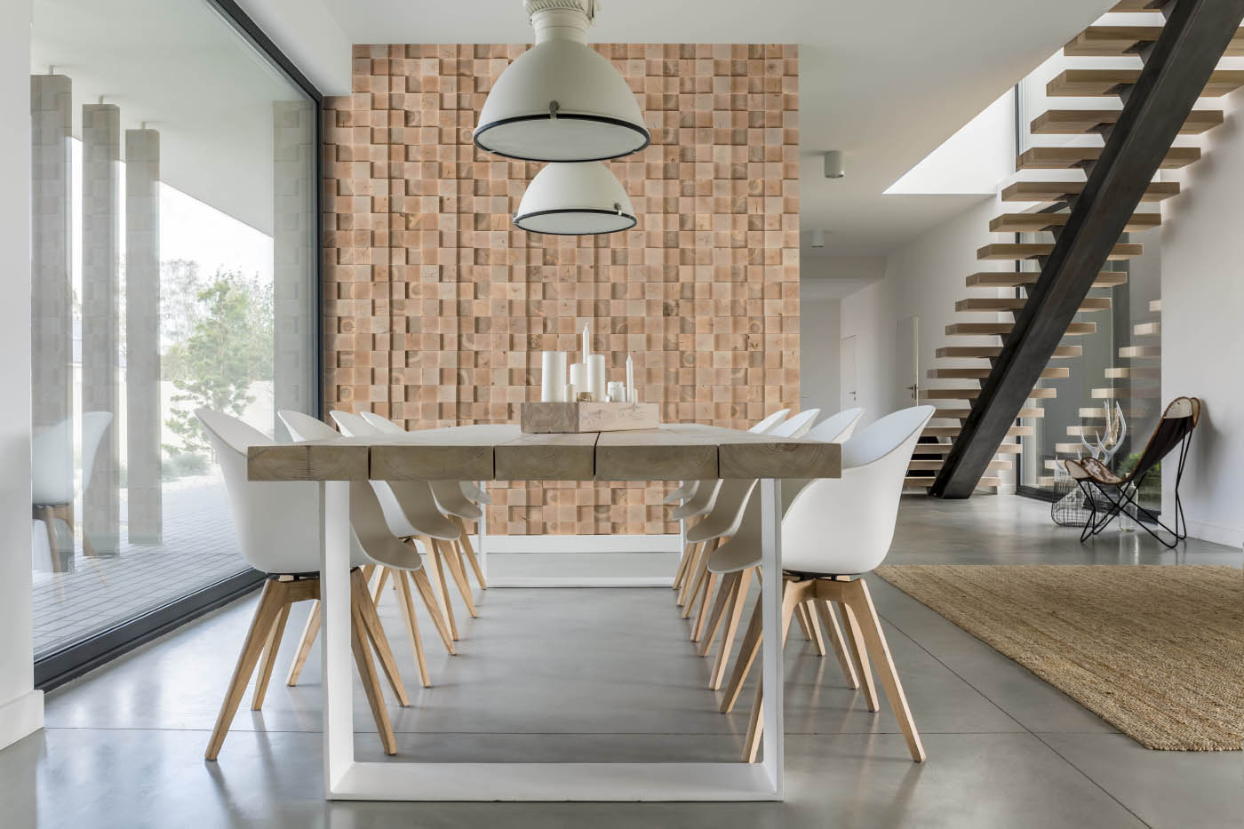 Wall panels in dining room