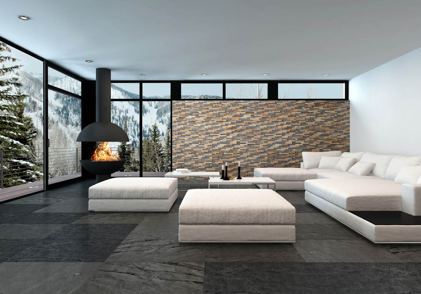 Wall panels in luxury interior