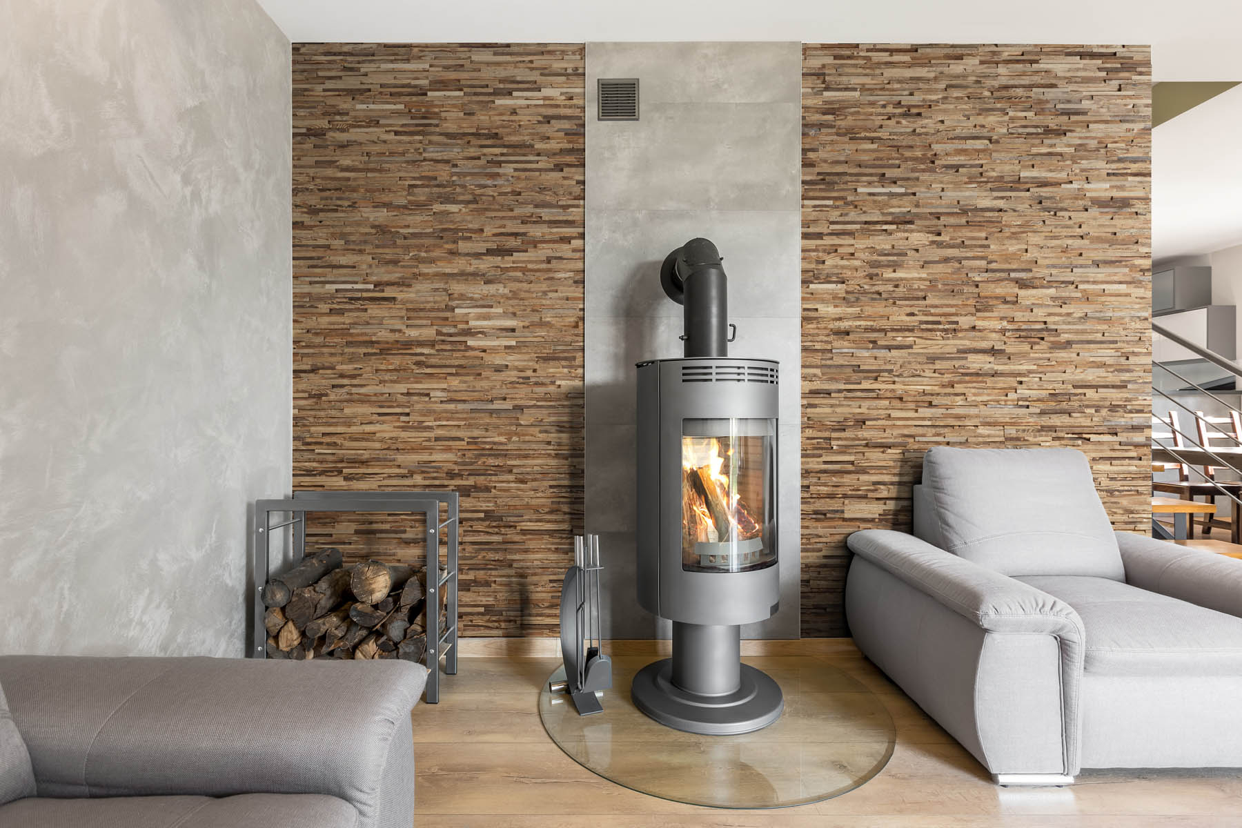 Wall panels in living room with fireplace