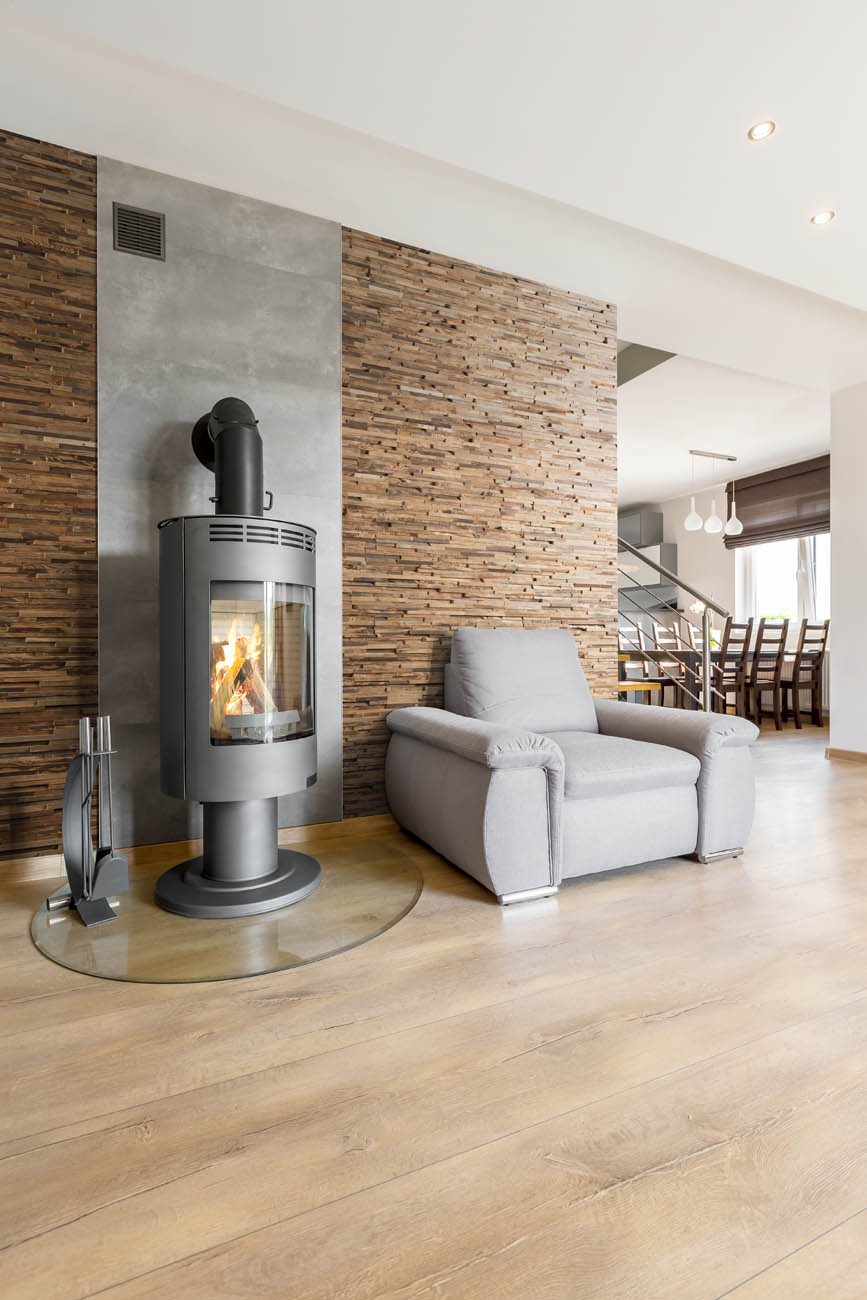 Wooden panels in livingroom interior near fireplace