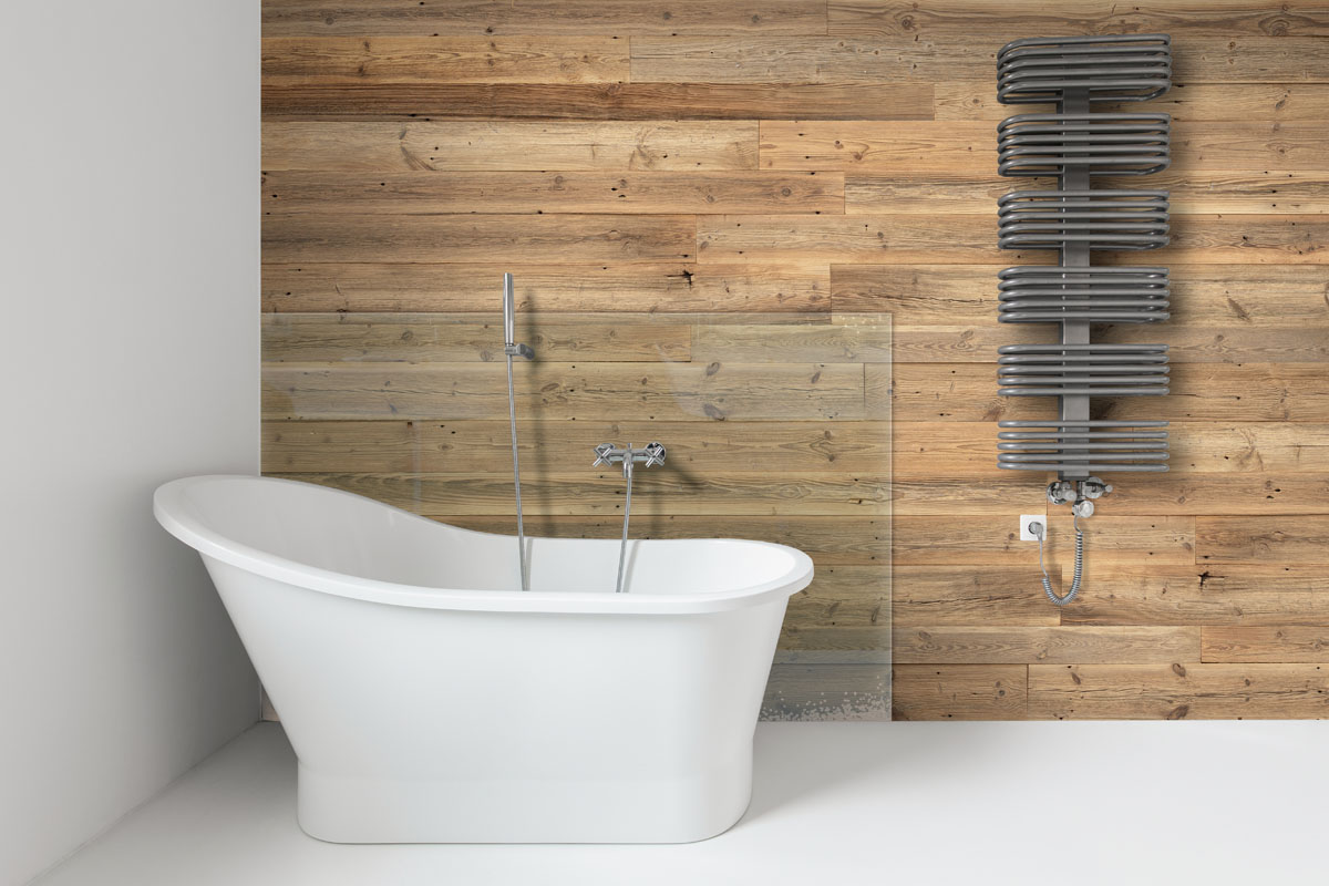 Bathroom walls covered with boards