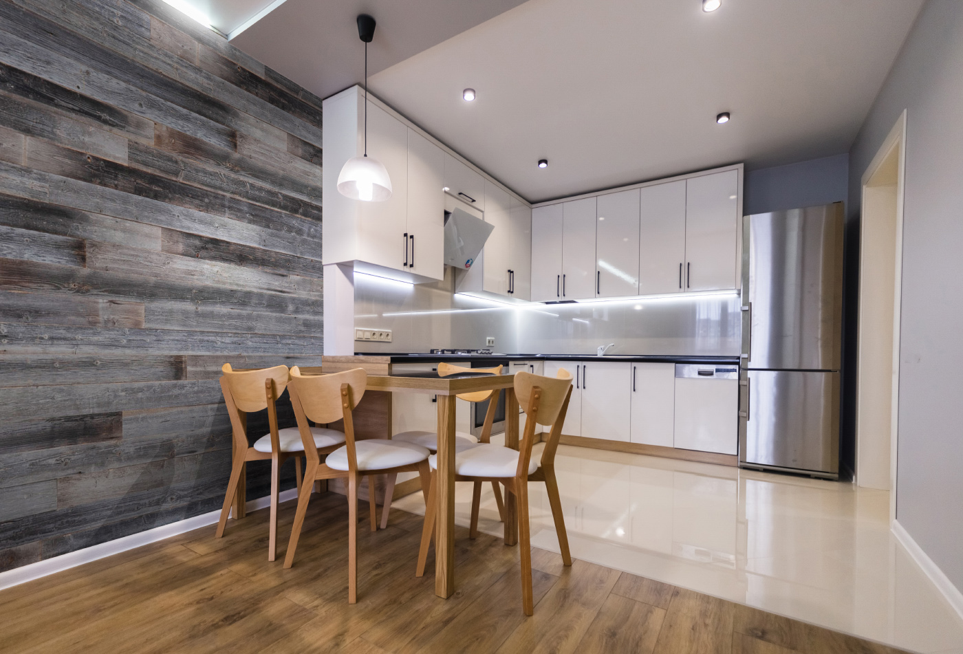 Grey boards in kitchen interior