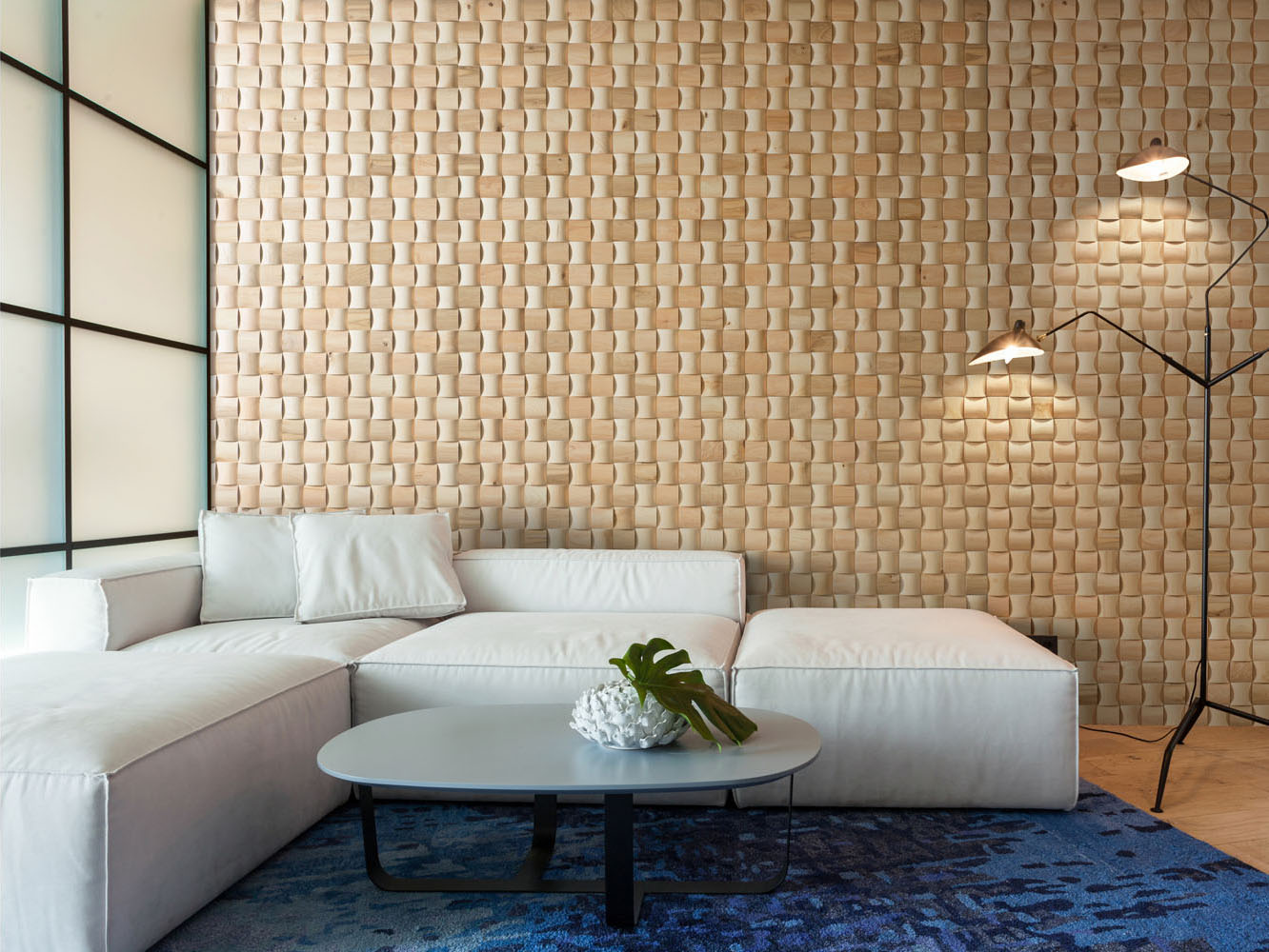 livng roon corner with solid wood wall panels