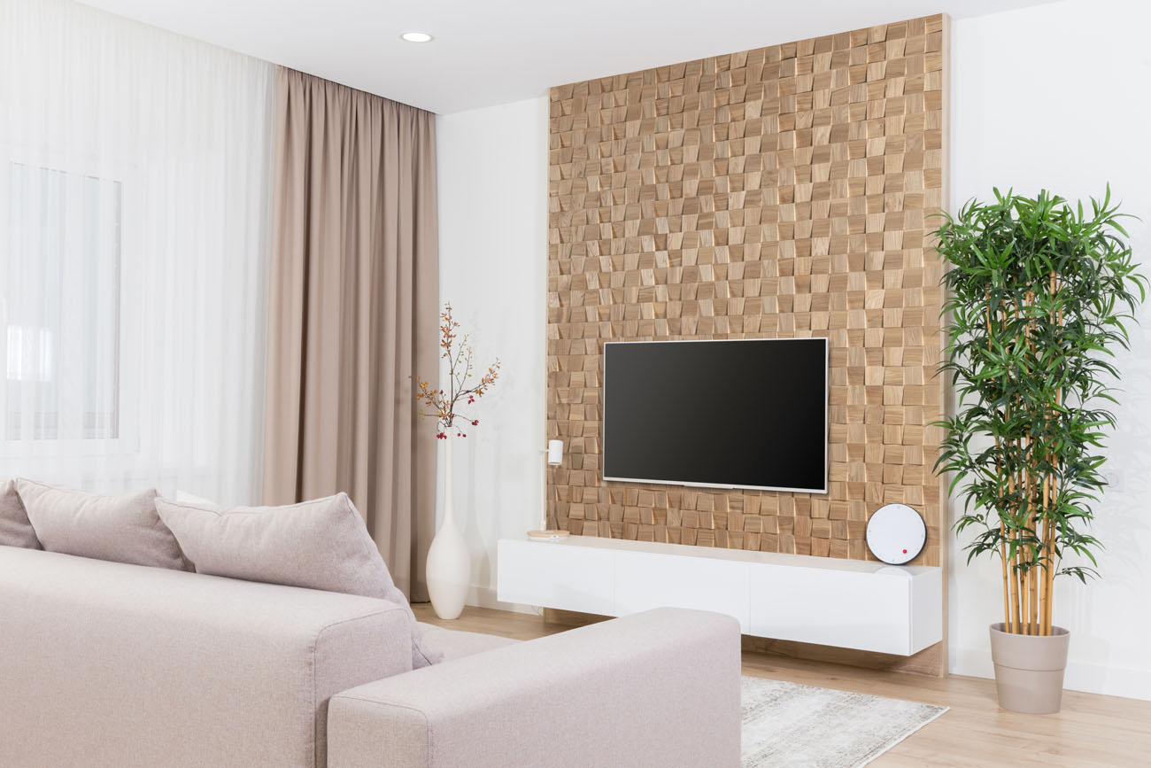 oak wall behind tv