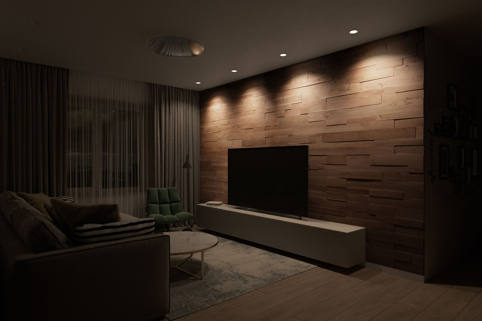 oak wall panel in 3 different lighting