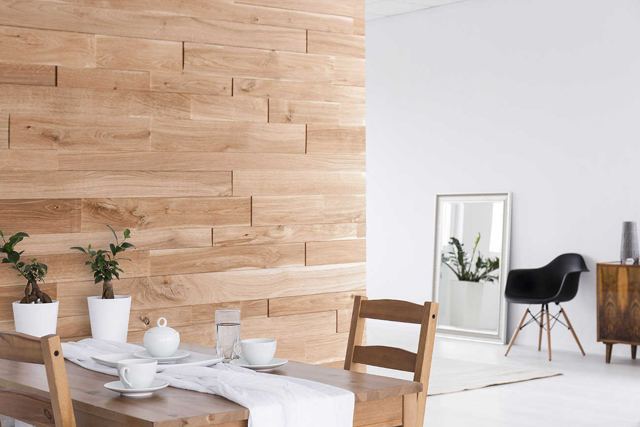 oak wall panels behind dining table