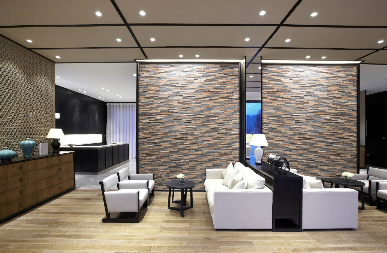 Lobby interior with wall panels