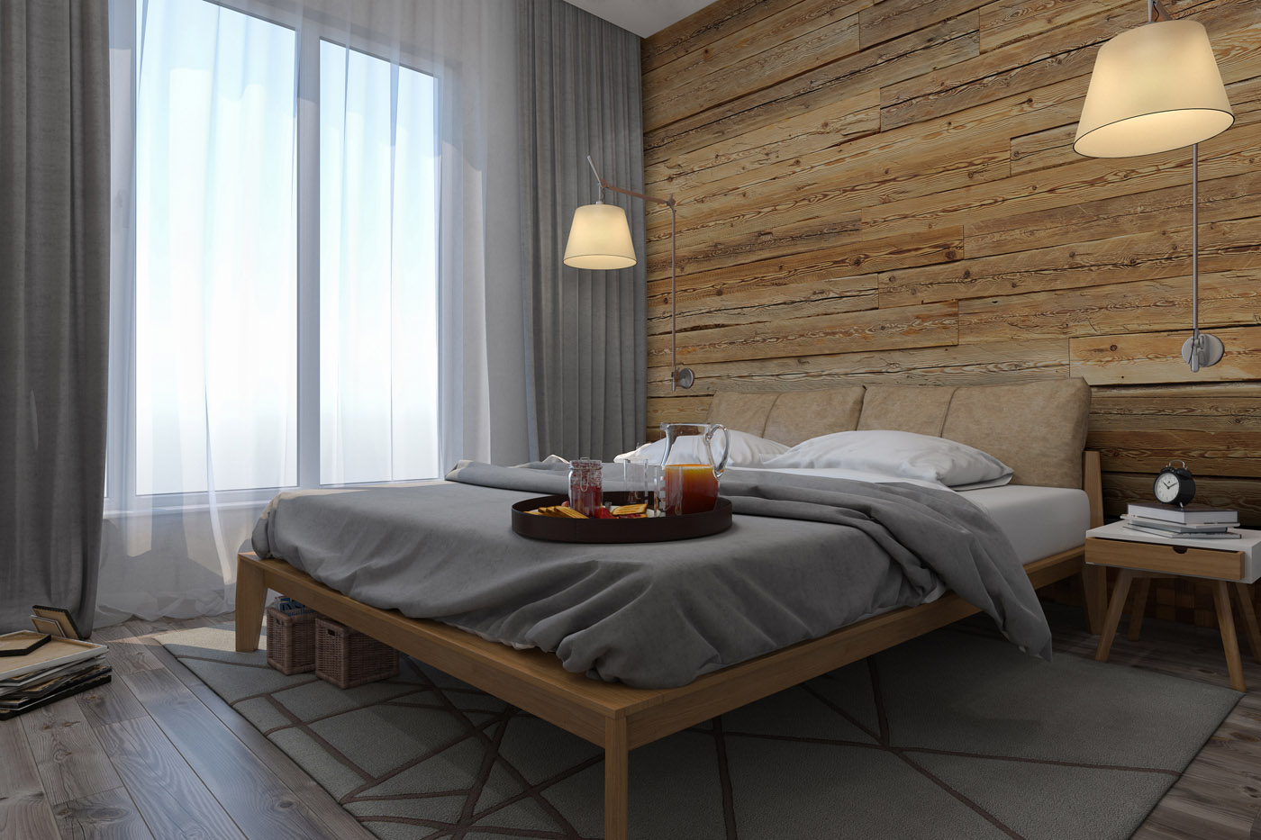 Reclaimed wood in bedroom interior