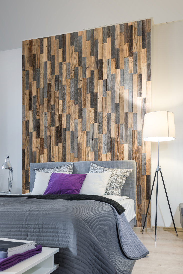 vertical wall panel in bedroom