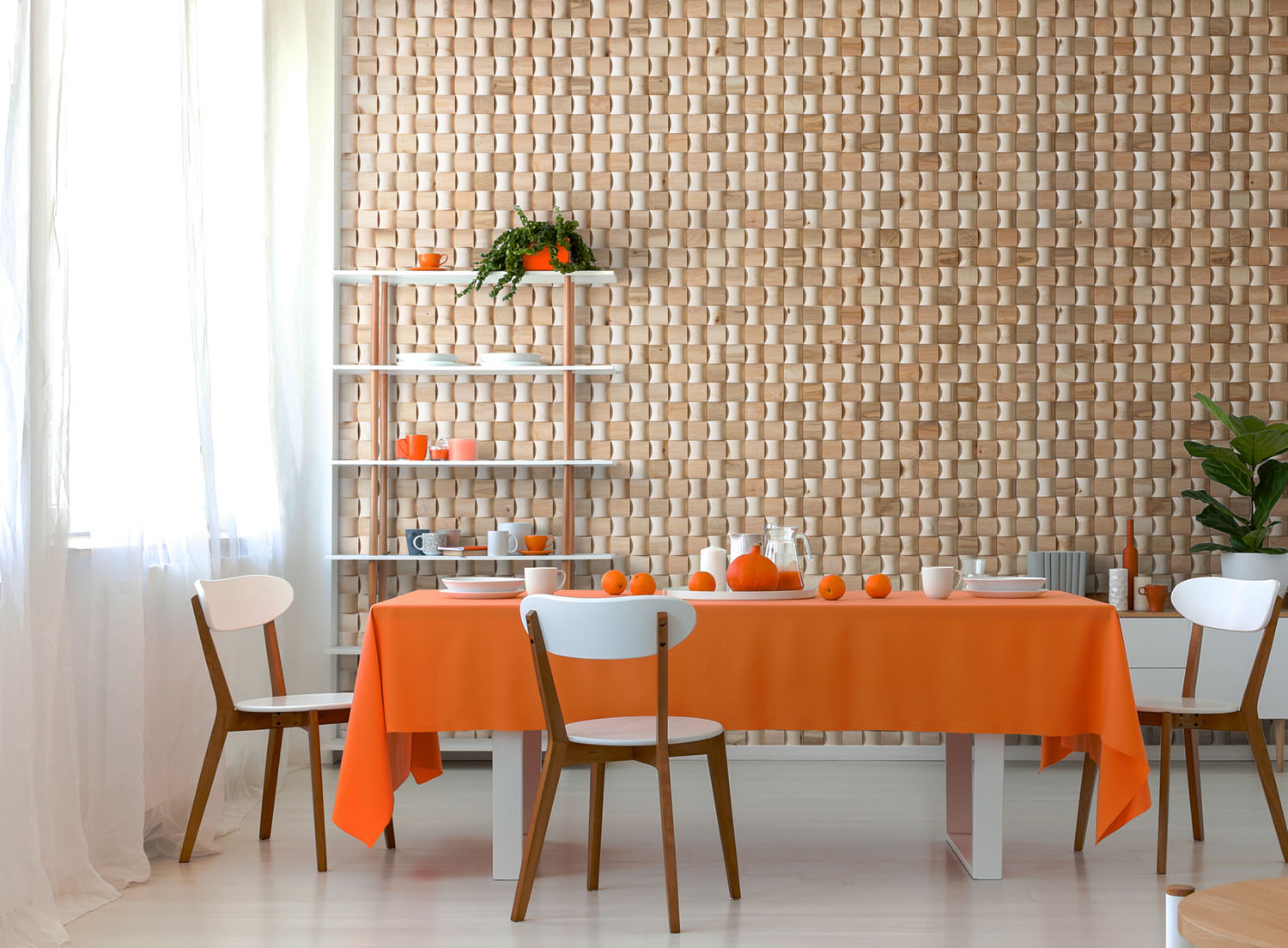 wall panels in interior orange accents