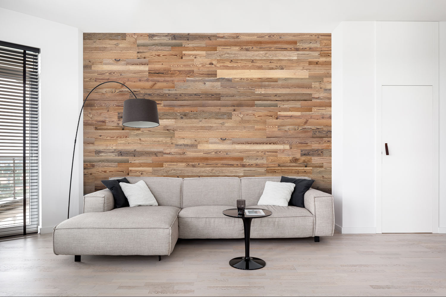 wooden wall panels on wall behind couch