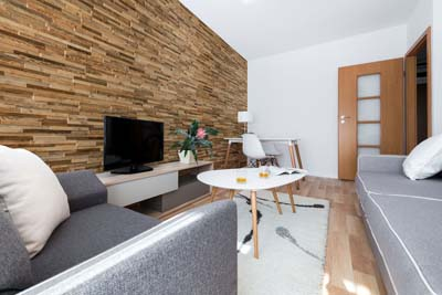 Apartment interior with wall panels longest side