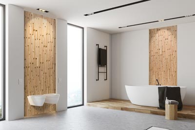 White bathroom interior with wall panels