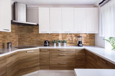 Kitchen interior with reclaimed wood wall panels