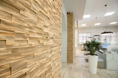Office interior walls with oak panels