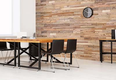 Office interior with wooden planks