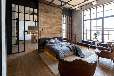 Reclaimed boards studio apartment