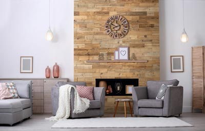 Reclaimed wood boards used in niche