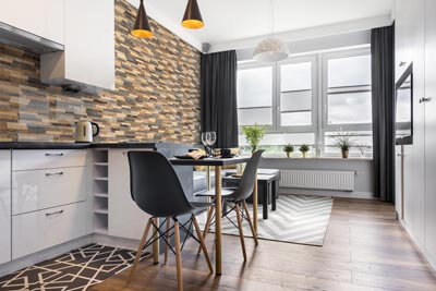 Studio apartment interior with wood
