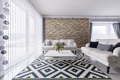 Wall cladding in white interior