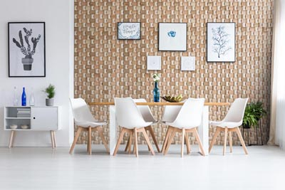 Wall panel in dining room interior
