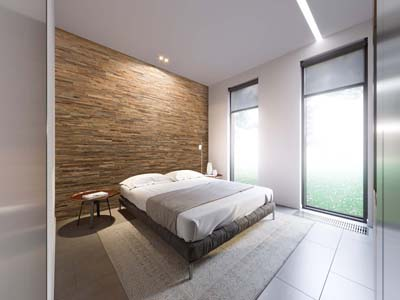 Wall panels bedroom white sheets