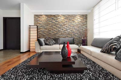 Wall panels behind sofa