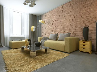 Contemporary interior with wall panels