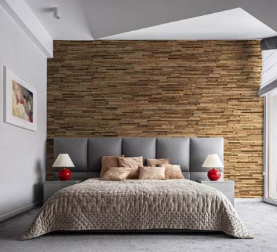 Wall panels in bedroom with large window